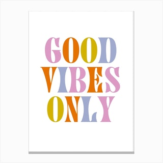 Good Vibes Only Retro Colours Canvas Print