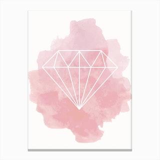 Watercolour Pink Diamond Canvas Print