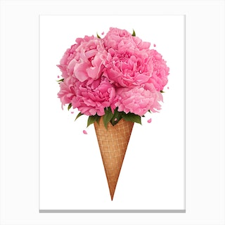 Ice Cream With Peonies Canvas Print