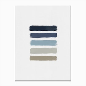 Blue & Taupe Stripes Canvas Print