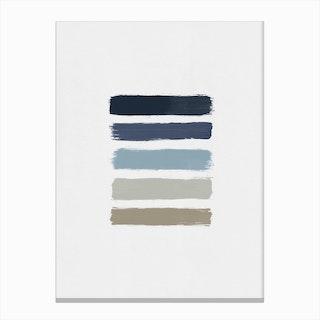 Blue & Taupe Stripes Canvas Print