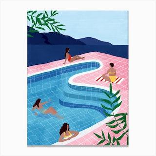 Pool Ladies Canvas Print