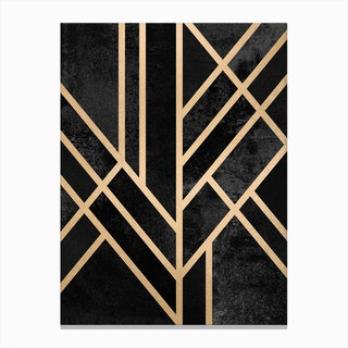 Art Deco Geometry Black Canvas Print