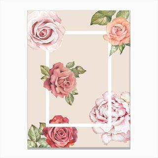 Vintage Rose Watercolor Canvas Print