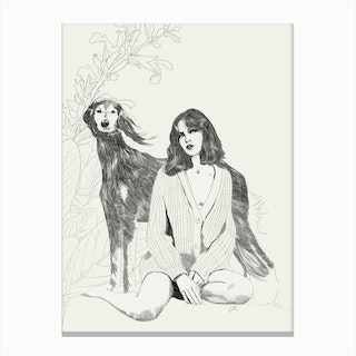 A Girl And A Dog Canvas Print