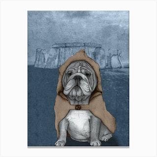 English Bulldog With Stonehenge Canvas Print