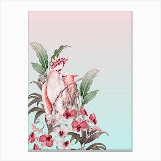 Pastel Cockatoos Paradise Canvas Print
