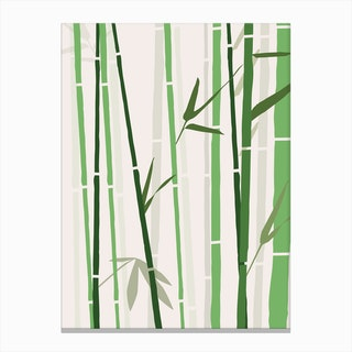 Bamboo Rainbow Green Canvas Print