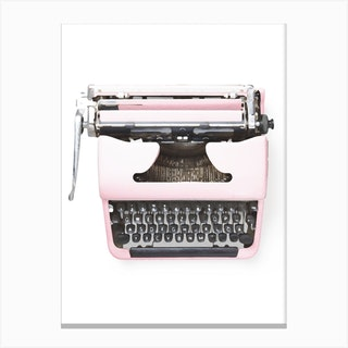 Pink Typewriter Canvas Print