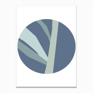 Abstract Blue Circle with Branches Canvas Print