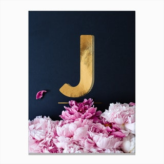 Flower Alphabet J Canvas Print