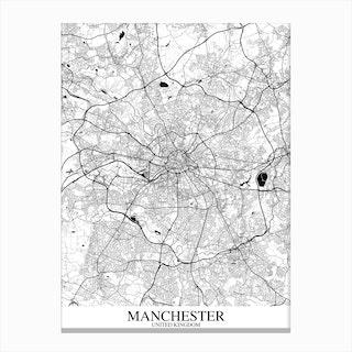 Manchester White Black Map Canvas Print
