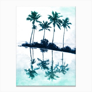 Palm Tree Reflections Teal Canvas Print