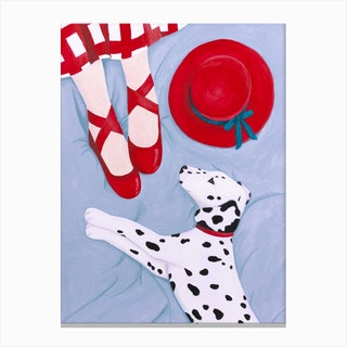 Dalmatian With Red Hat Canvas Print