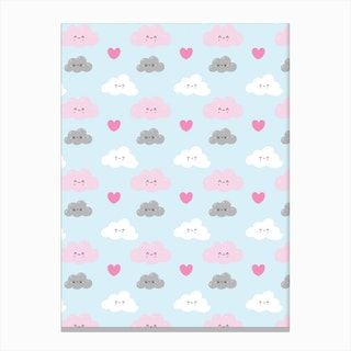 Happy Clouds Pattern Canvas Print