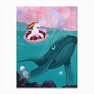 Unicorn And Whale Canvas Print