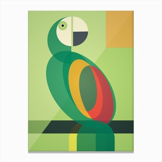 Mid Century Geometric Parrot Canvas Print