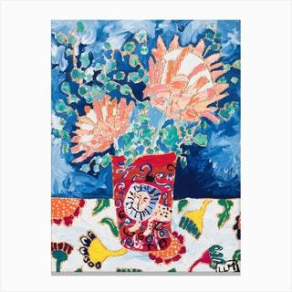 Protea Bouquet In Portuguese Enamel Lion Vase Canvas Print
