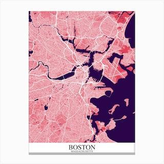 Boston Massachusetts Pink Purple Canvas Print