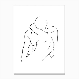 Lovers Body Sketch 2 Black And White Canvas Print