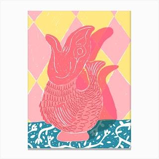 Pink Fish Vase Canvas Print