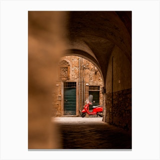 Red Vespa In Lucca Tuscany Canvas Print