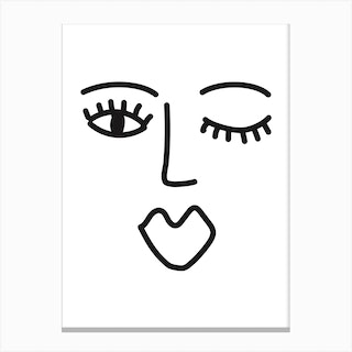 Abstract Face Two Canvas Print