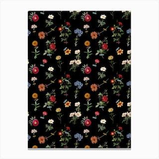 Vertical Garden Black Canvas Print