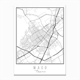 Waco Texas Street Map Canvas Print