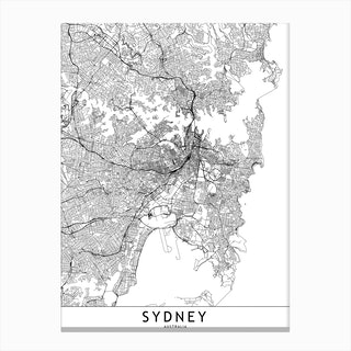 Sydney White Map Canvas Print