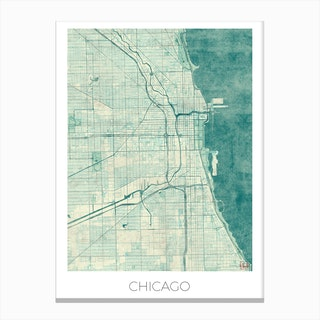 Chicago Map Vintage in Blue Canvas Print