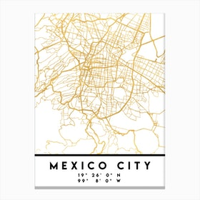Mexico City City Street Map Canvas Print