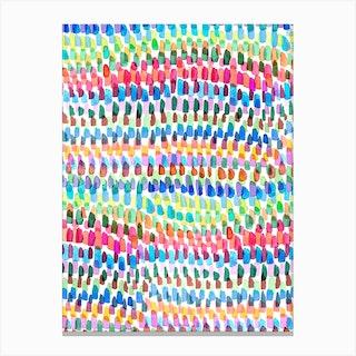 Artsy Strokes Stripes Colorful Canvas Print