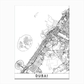 Dubai White Map Canvas Print