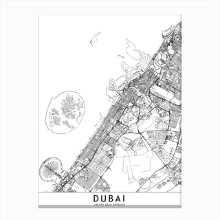 Dubai White Map Canvas Print