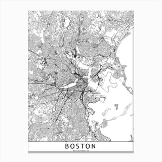 Boston White Map Canvas Print