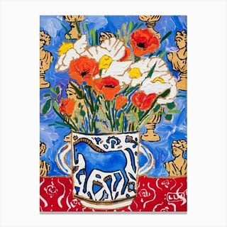 California Poppy Still Life With Horse Vase And Greek Busts Canvas Print