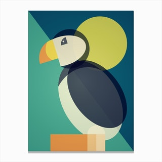 Mid Century Geometric Puffin Canvas Print