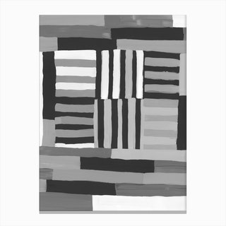 Painted Color Block Grid In Black And White Canvas Print