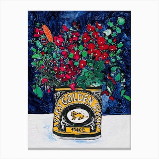 Wildflowers In Lyles Golden Syrup Tin On Navy Canvas Print