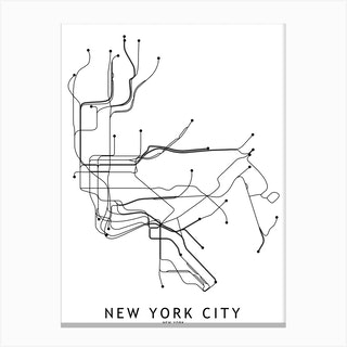 New York City Subway White Map Canvas Print