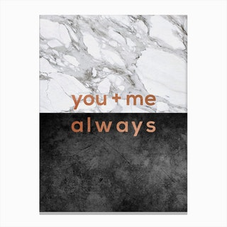 You & Me Always Copper Canvas Print