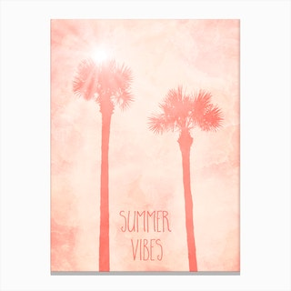 Palm Trees Summer Vibes Canvas Print