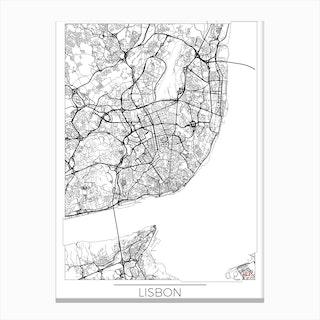 Lisbon Map Minimal Canvas Print