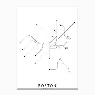 Boston Subway White Map Canvas Print