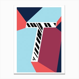 T Geometric Font Canvas Print