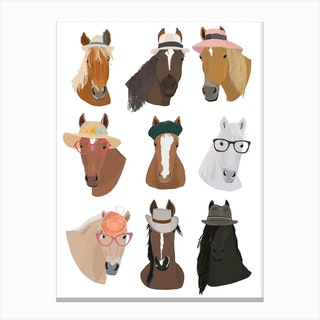 Horses In Hats Canvas Print