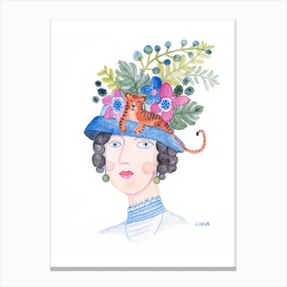 Woman With Tiger Hat Canvas Print