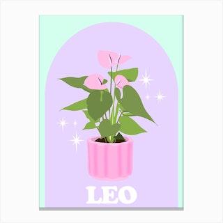 Botanical Star Sign Leo Canvas Print