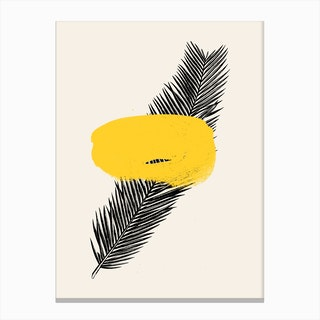 Tropical Leaf Yellow Canvas Print